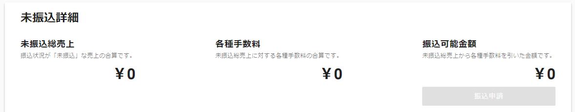 振込可能金額が0円の場合は「振込申請」はできません